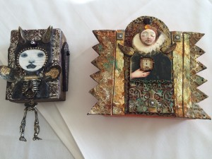 Two awesome pieces with Karen's shrunken skelly on the left!