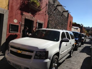 Leandro and Co. driving all 40 of us to the the Shrine and back!! We looked like a Presidential convoy!