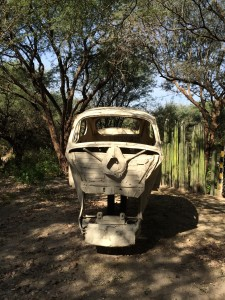 An old VW bug turned into a skull sculpture!