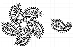 What became the paisley design for Pilgrimage to India.