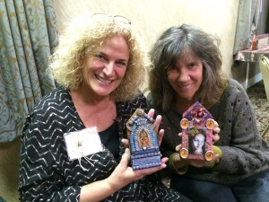 My buddy Kat Kirby and her cousin-in-law, Priscilla holding their awesome shrines!