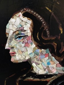 Katherine's latest mosaic after taking Mireille Swinnen's smalti portraiture class.